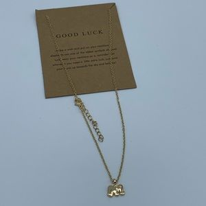 Jewelry - NEW Elephant Good Luck charm gold fashion necklace